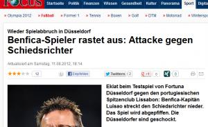 """Focus Online titelt dazu: """"Wieder Spielabbruch in Düsseldorf"""""""