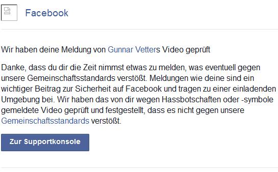 Facebook gemeldeter Beitrag kein Verstoß
